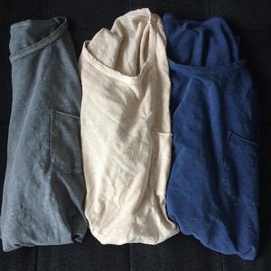 Slub Pocket-T 3PK (Faded Grey, Ivory, Aquamarine)