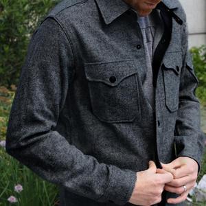 #1 CharcoalXBlack Wool Herringbone CPO