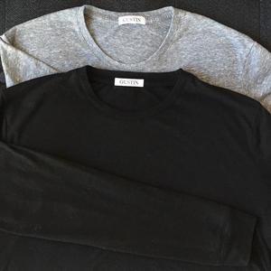 USA Long Sleeve T-Shirt 2PK (Heather Black, Heather Grey)