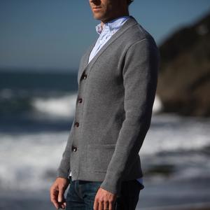 Cardigan Sweater - Grey Merino Wool