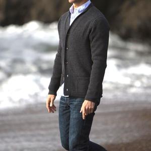 Cardigan Sweater - Charcoal Merino Wool