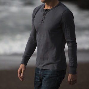USA Pigment Dyed Henley Faded Black
