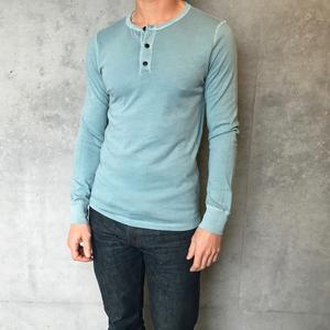 USA Pigment Dyed Henley Lagoon Green