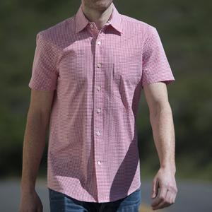 #499 Short Sleeve Red Gingham Seersucker