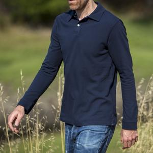 Japan Long Sleeve Pique Polo Navy