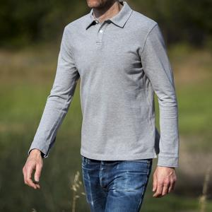 Japan Long Sleeve Pique Polo Heather Grey