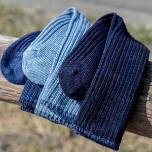 Japan Indigo Rib Sock 3PK