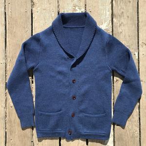 Shawl Cardigan - Navy Merino Wool