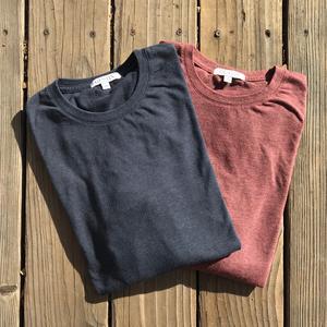 USA Heather Long Sleeve T-Shirt 2PK (Navy, Plum)