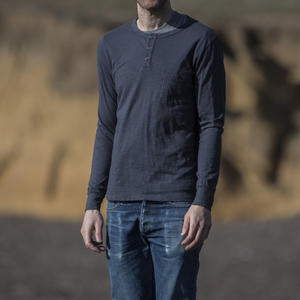 Slub Pocket Henley - Charcoal
