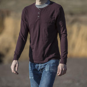 Slub Pocket Henley - Oxblood