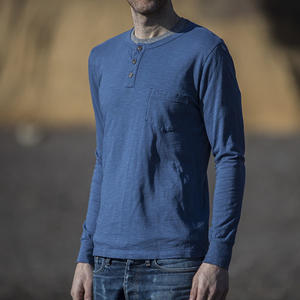 Slub Pocket Henley - Aquamarine