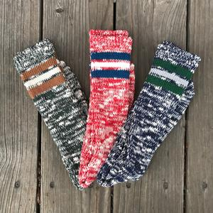 Japan Slub Varsity Sock 3PK (Hunter, Crimson, Navy)
