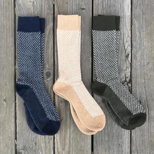 Japan Herringbone Wool Sock 3PK (Pine, Camel, Navy)