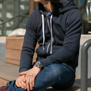 Twisted Yarn Fleece Zip Hoodie - Navy