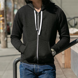 Twisted Yarn Fleece Zip Hoodie - Black