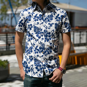 #677 White Blue Floral Short Sleeve Shirt