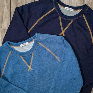 Indigo Dye Contrast Stitch Crewneck Sweatshirt 2 Pack