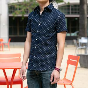#687 Indigo Star Short Sleeve Shirt