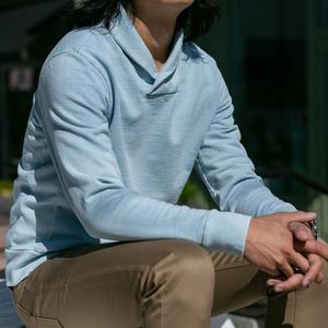 Sun Fade Indigo Shawl Collar Sweatshirt