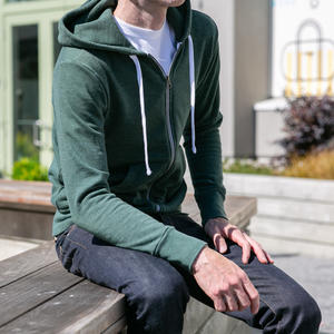 Twisted Yarn Fleece Zip Hoodie - Forest