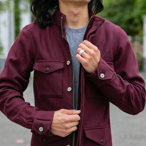 Burgundy Wool Field Jacket