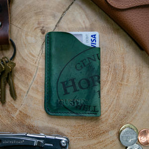 Horween Shell Cordovan Corner Wallet - Reverse Black