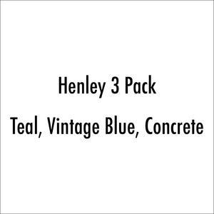 Henley 3Pk (Teal, Vintage Blue, Concrete)