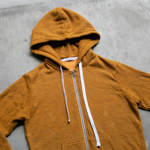 Twisted Yarn Fleece Zip Hoodie - Saffron