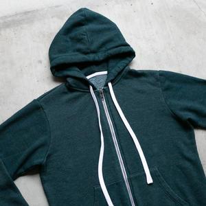 Twisted Yarn Fleece Zip Hoodie - Dark Teal