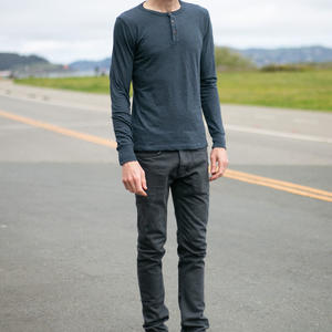 Twisted Yarn Henley - Dark Ocean