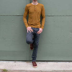 Twisted Yarn Henley - Saffron