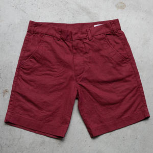 Linen Solid Chino Shorts - Deep Red