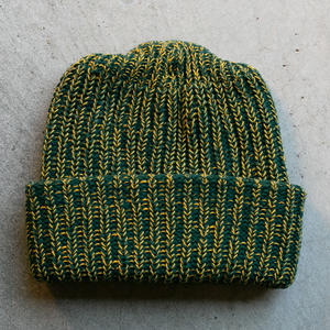 American Knit Beanie - ForestXYellow