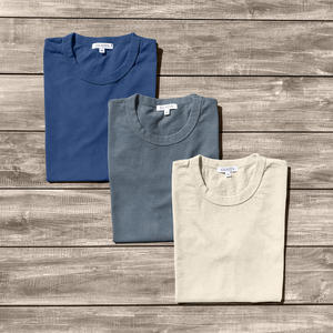 Heavyweight Pigment Dye T-Shirt 3 Pack (Aquamarine, Faded Grey, Ivory)
