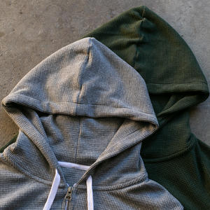 Waffle Zip Hoodie 2PK - Heather Grey, Dark Olive
