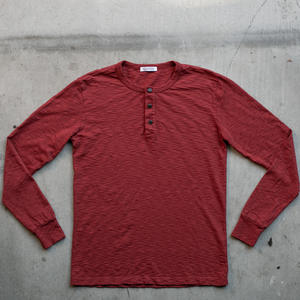 Big Slub Henley - Deep Red