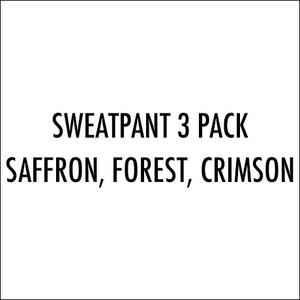 Sweatpants 3 Pack (Saffron, Forest, Crimson)