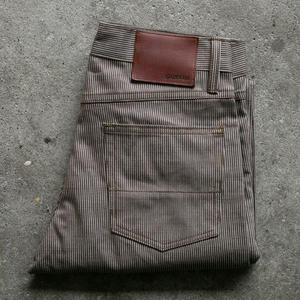 #82 Vintage Ticking Stripe 5 Pocket - Brown Olive