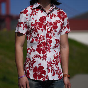 #761 Red White Floral Short Sleeve Shirt