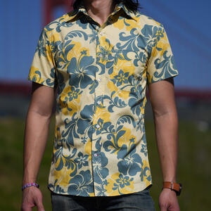 #759 Army Mustard Floral Short Sleeve Shirt