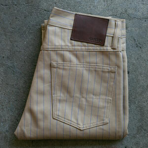 #105 Japan Pinstripe Herringbone 5 Pocket - Khaki
