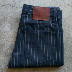#104 Japan Pinstripe Herringbone 5 Pocket - Navy
