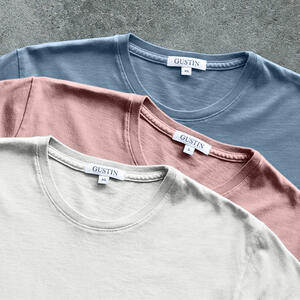 Pima Cotton Pigment Dye T-Shirt 3 Pack (Faded Rose, Oatmeal, Ocean)