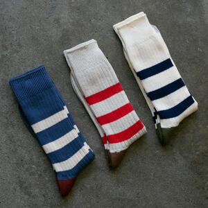 Japan Stripe Sock 3PK (Blue, Stone, Natural)