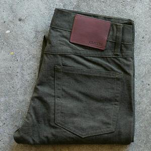 #121 Japan Brushed Linen Chambray 5 Pocket - OliveXBlack