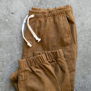 Linen Chambray Joggers - Rust