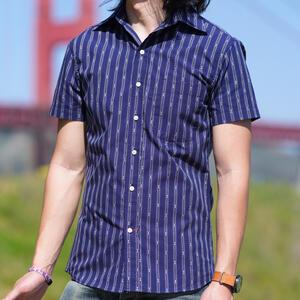 #851 Vintage Jacquard Stripe Short Sleeve Shirt - Navy
