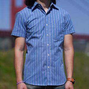 #852 Vintage Jacquard Stripe Short Sleeve Shirt - Sky