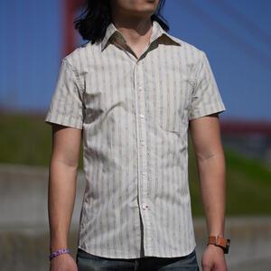 #853 Vintage Jacquard Stripe Short Sleeve Shirt - Natural